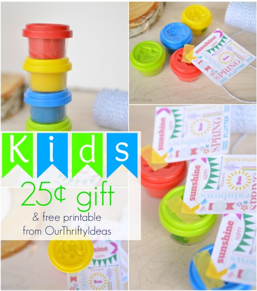 These little playdough are from the $1 spot at Target. Give this as a gift to your kids' friends for just $.25 each!!! And there's a free printable too