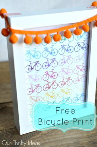 Free bicycle print, just print frame and add some pom pom trim with washi tape. Perfect & Easy #spring #decor | www.OurThriftyIdeas.com #printable #spring #free