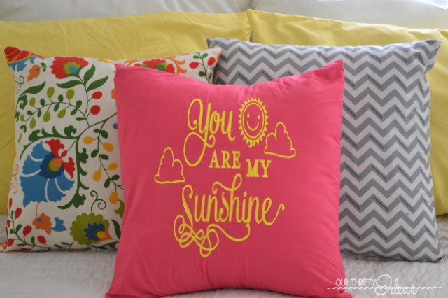 "DIY pillow covering with ""You are my sunshine"" saying on it."