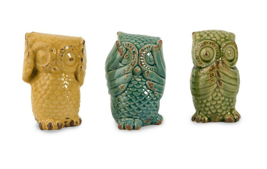 set of 3 wise owls - home decor