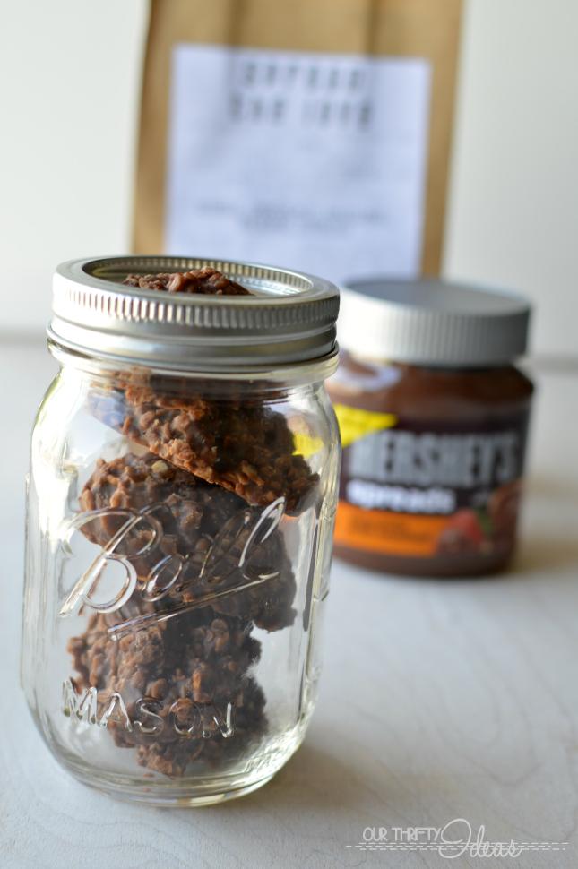 double chocolate & hazelnut no-bake cookies. Made using Hershey's Spread