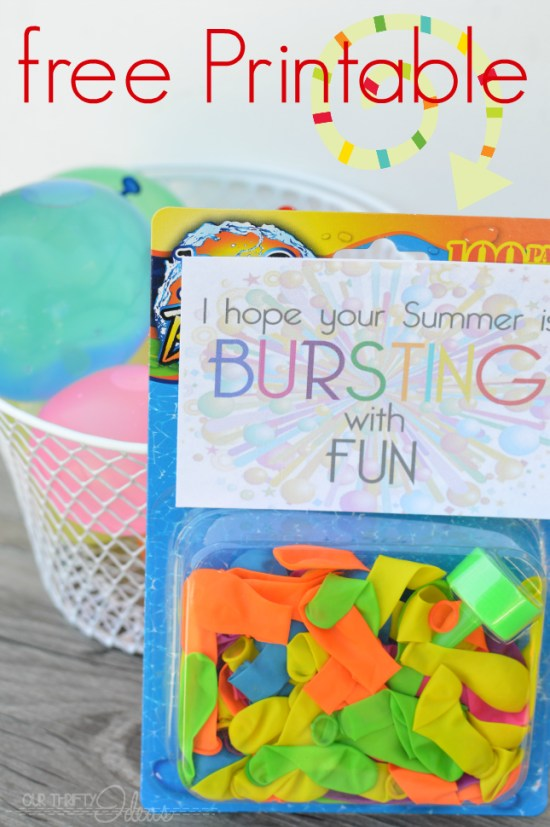 Summer Break free printable with water balloons