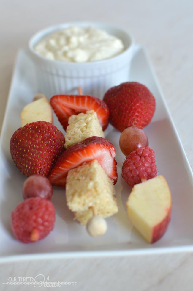 coconut cheesecake fruit kabob dip