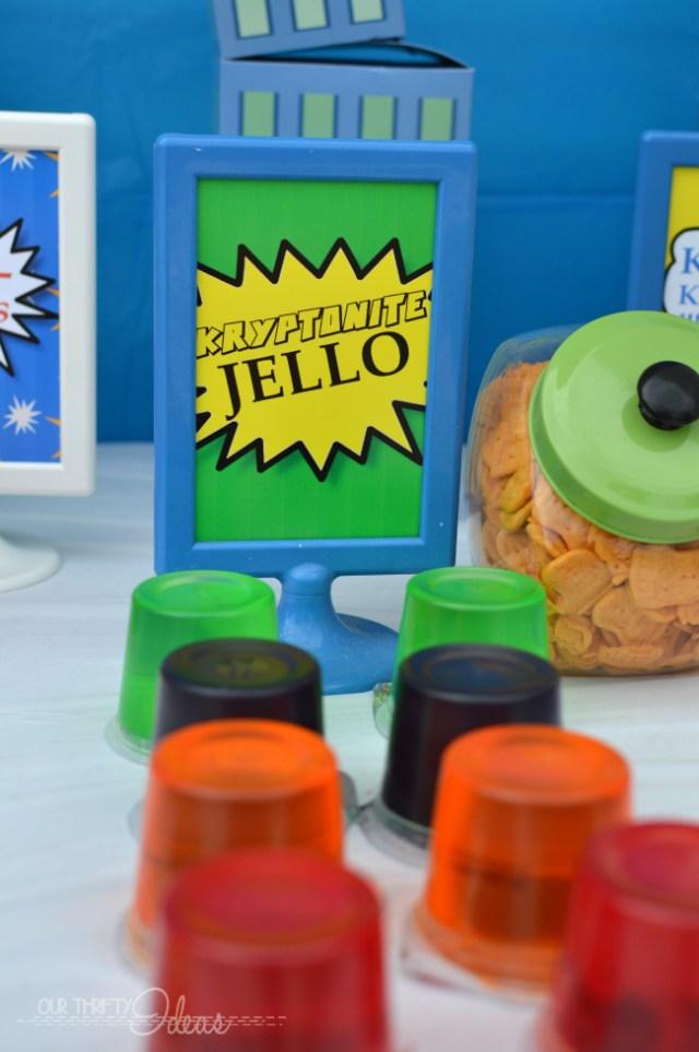 kryptonite jello sign for a super hero party