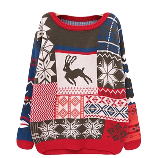 patchwork christmas sweater