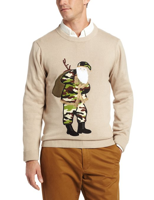 camo santa Ugly Christmas sweater