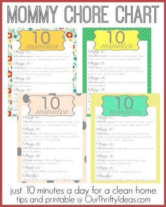 Free printable of a Mommy Chore chart that helps you get and keep your house clean with just 10 minutes a day