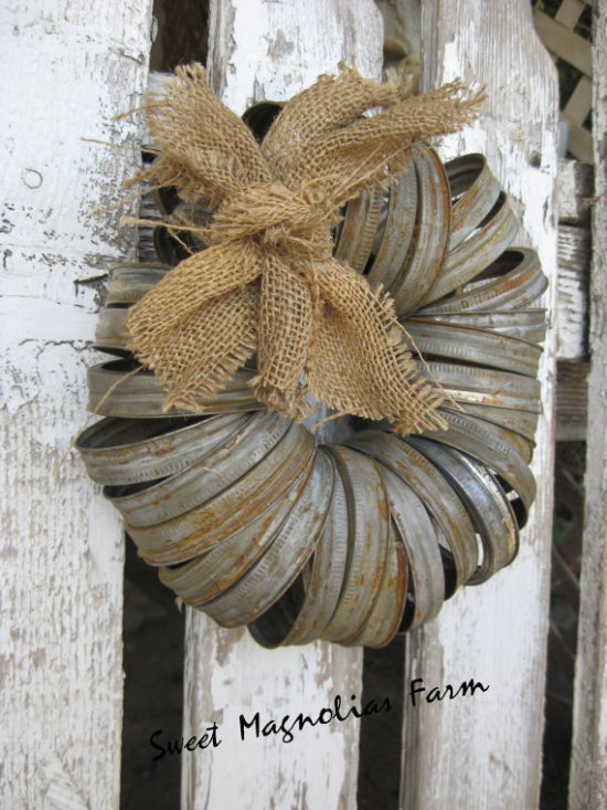 rusted canning jar wreath