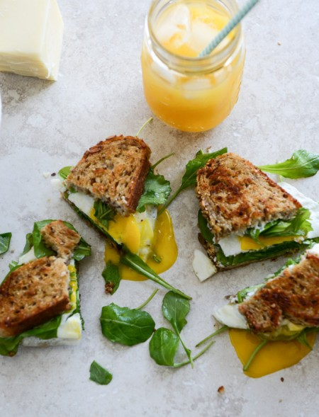 Gruyere, Fig Jam and Arugula Breakfast Sandwiches