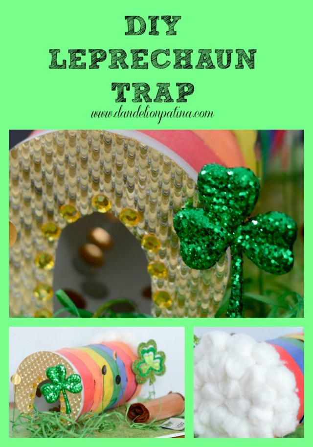 DIY gold and rainbow leprechaun trap idea
