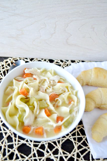 This chicken noodle soup is so amazing and only takes 5 minutes to prep. It's perfect for those who aren't feeling well or for a cold rainy day.