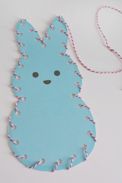 Lace and Trace Peeps printable. This will help develop hand-eye coordination, fine motor skills, cognitive skills and visual perception skills.