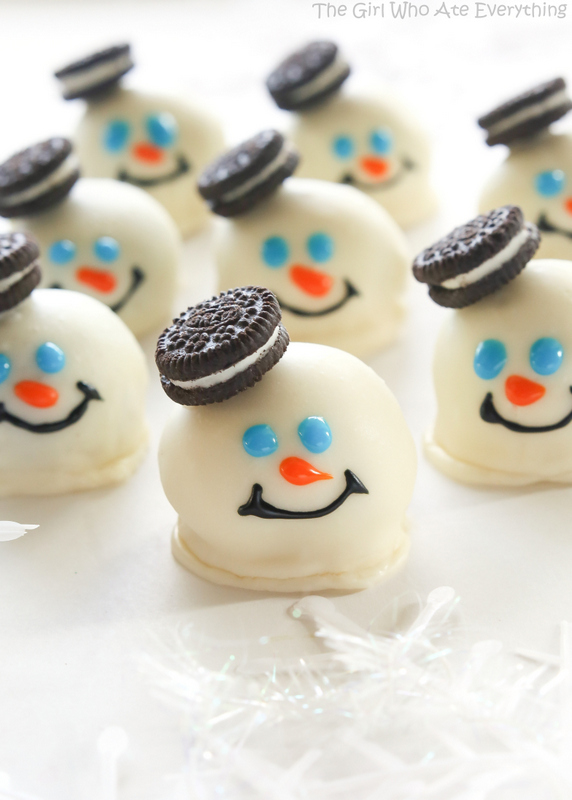 melted snowman oreo balls