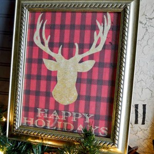 buffalo check reindeer holiday sign