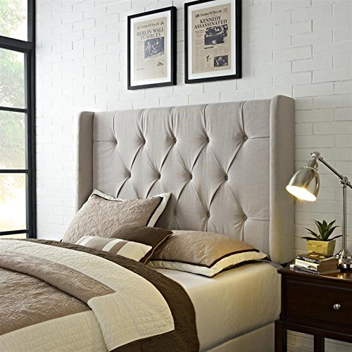 beautiful tufted headboard with side wing panels