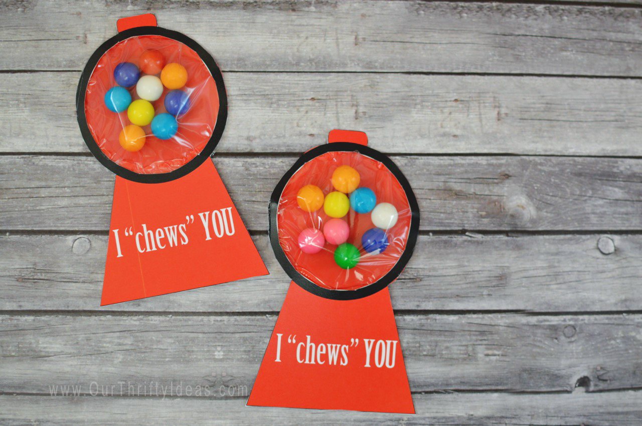 graphic regarding Gumball Machine Printable called Gumball Unit Printable Valentine Card - Our Thrifty Strategies