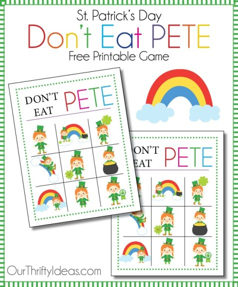 St. Patrick's Day Don't Eat Pete free printable game from OurThriftyIdeas.com