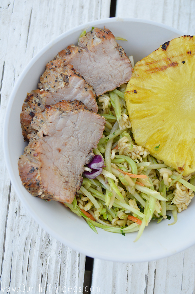 grilled pineapple and pork tenderloin, cooked on a charcoal grill. YUM!