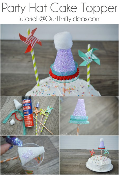 This mini Party Hat is such a fun idea for a birthday cake. And it's a really easy and simple tutorial too!