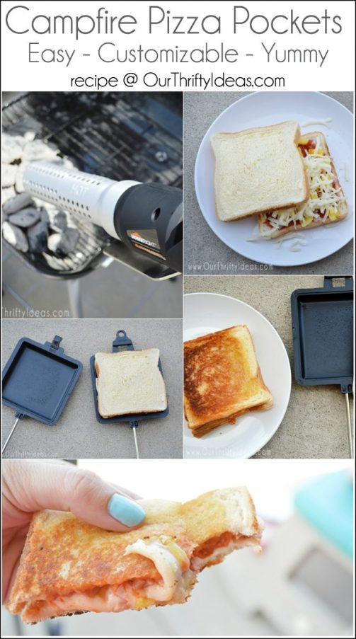 These Campfire Pizza Pocket Sandwiches can be cooked over an open fire, or grill. They are great for a backyard cookout or while camping! Can't wait to have these this Summer.