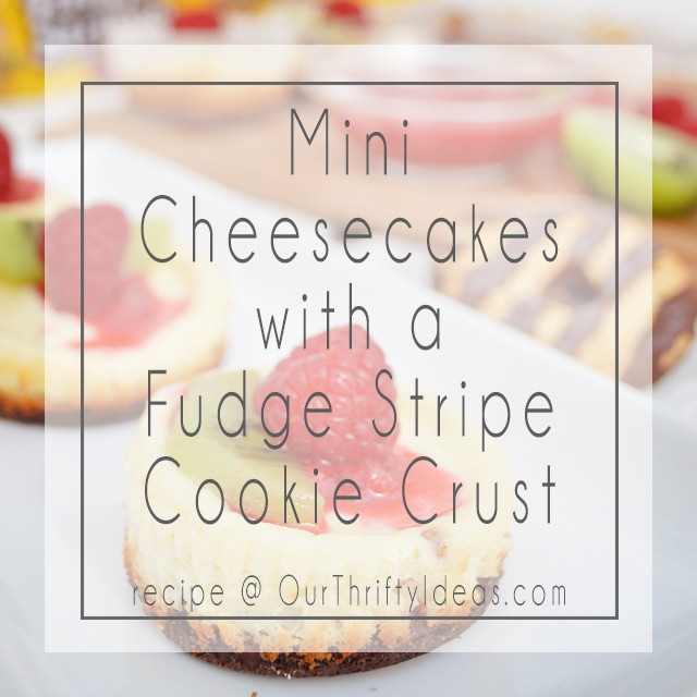 These mini cheesecakes have a fudge stripes cookie base and only take 10 minutes to make! Delicious AND fast!