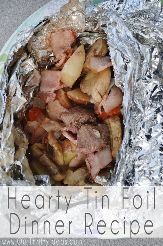 This tin foil dinner is a hearty meal with beef, potatoes, carrots, mushrooms and a cream of mushroom topping! It is also a dinner perfect for camping.