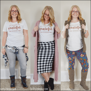 When given one holiday themed shirt, here's how I styled it 3 different ways; Dressy, Comfortable and Casual!