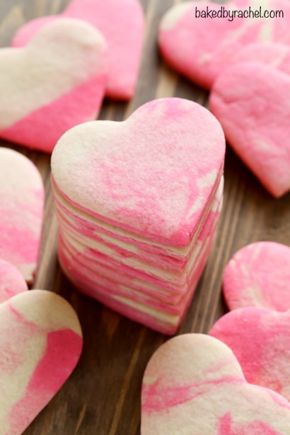 Marbled Heart Shaped Cookies