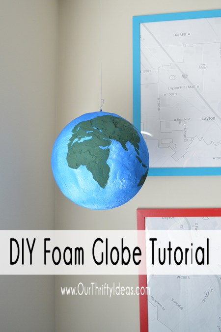 DIY globe made from styrofoam