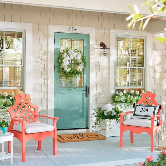 front porch in the spring