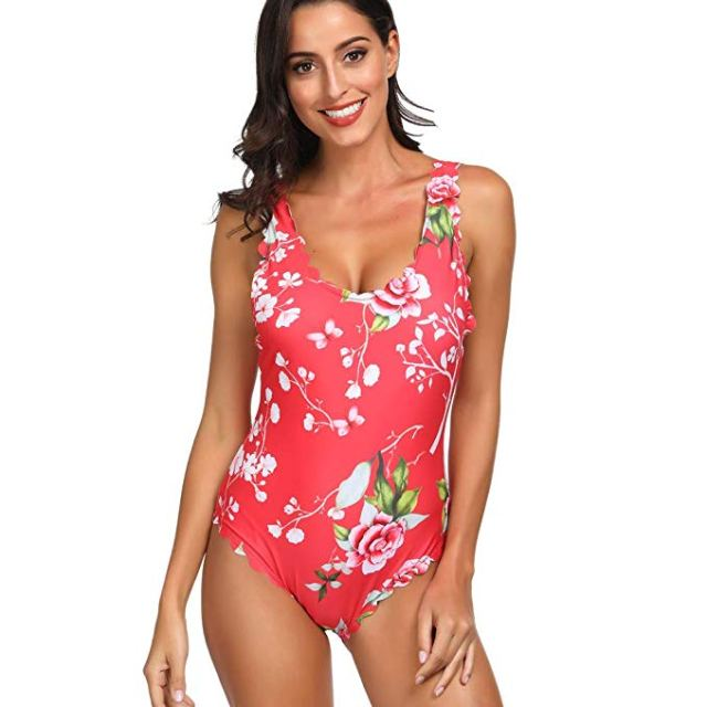 Floral Scallop Swim Suit