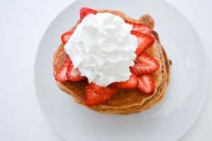 Macro friendly, protein packed strawberry pancakes