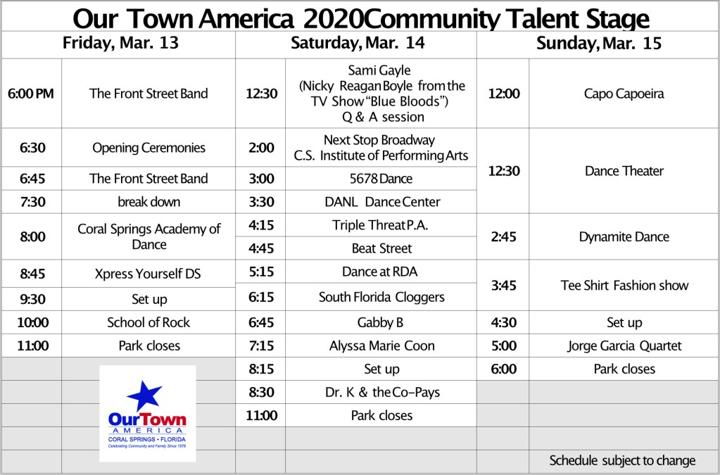 Community Talent Stage Schedule 2020, Updated 2/17/2020