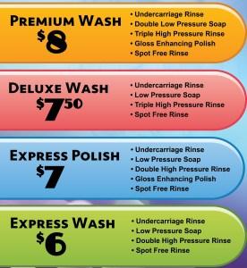 Our Town Auto Wash Automatic car wash menu