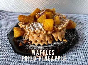 Vegan Waffles with fried pineapple and walnuts