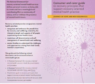Consumer and carer guide to recovery principles that support recovery-oriented mental health practice