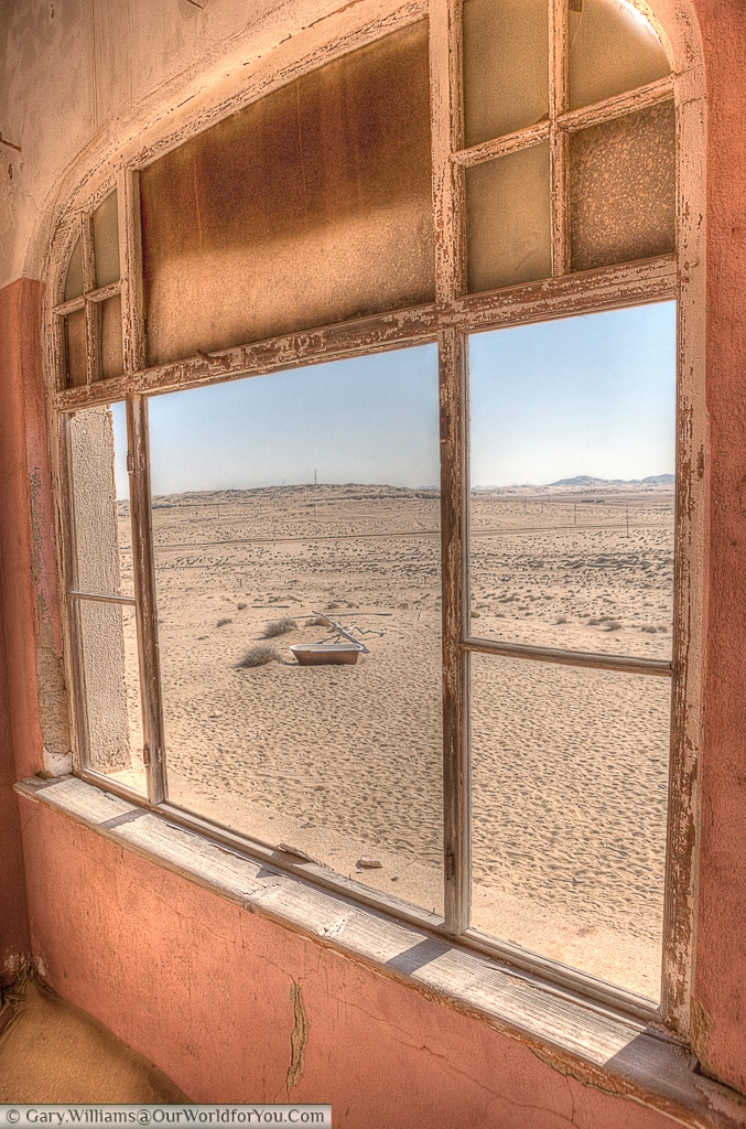A view out - a strange place for a bath, Kolmanskop, Namibia