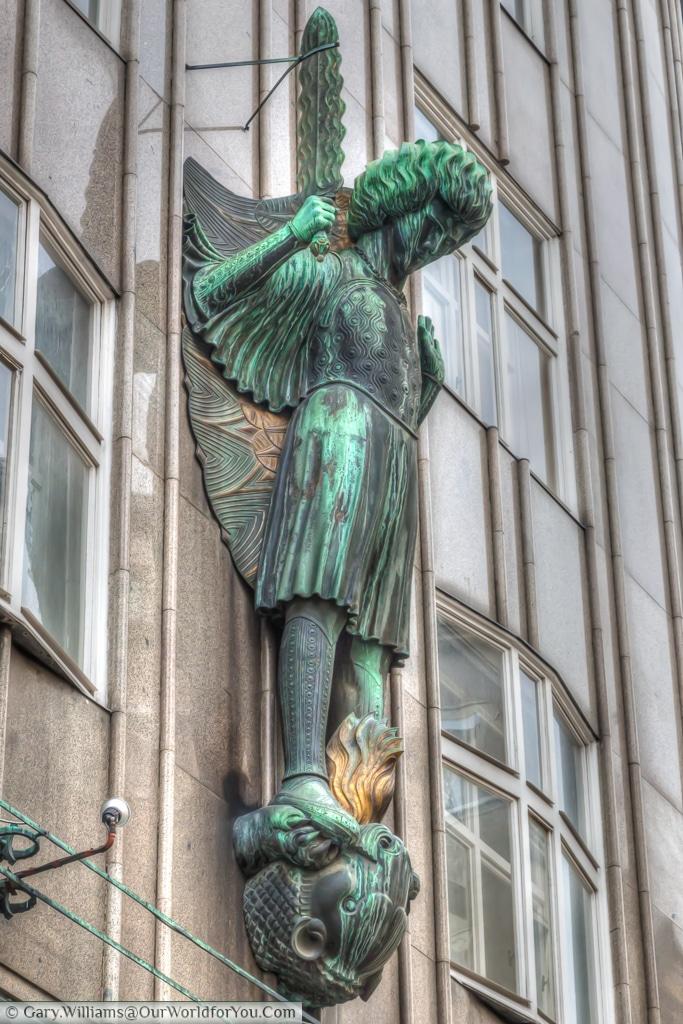 Archangel Michael on the façade of Zacherlhaus, Vienna, Austria
