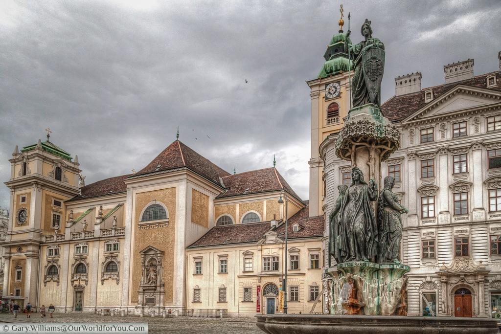 The Austriabrunnen with the Schottenstift in the background, Vienna, Austria
