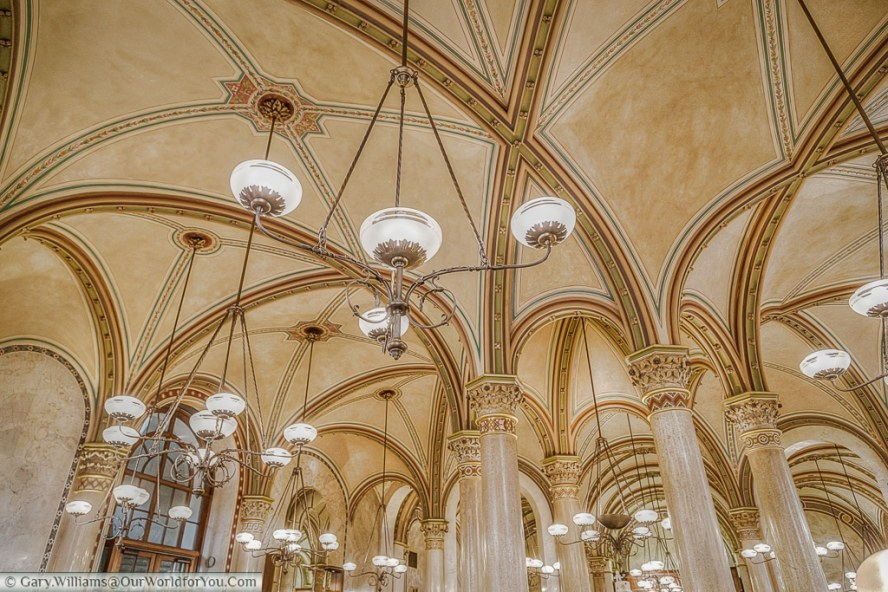 A view of the vauted ceiling of Café Central, Vienna, Austria
