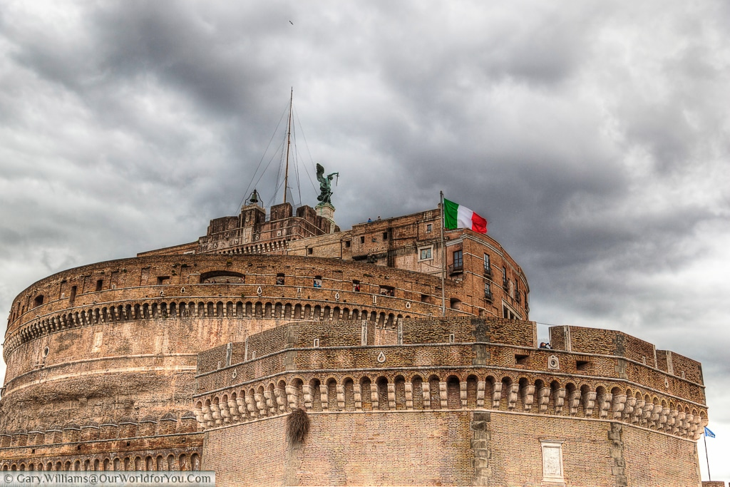 The Castel Sant'Angelo seen from Lungotevere Castello, Rome, Italy