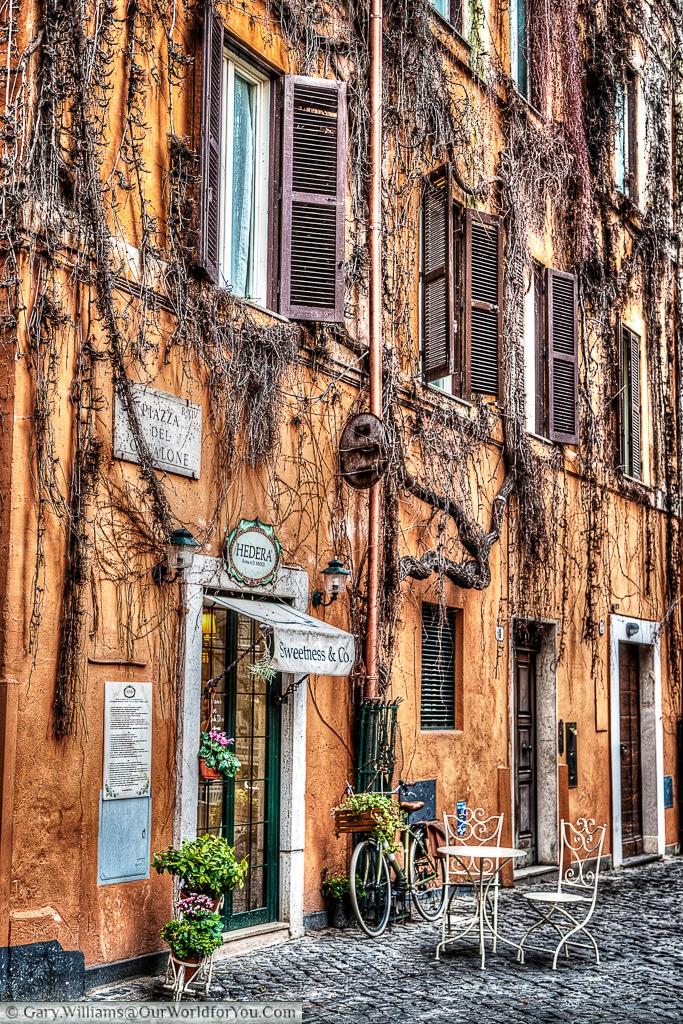 A charming scene just off the Borgo Pio in Piazza del Catalone, Rome, Italy
