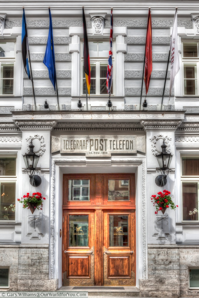Hotel Telegraaf - Once the town's telephone exchange, now a 5 star hotel in Tallinn.