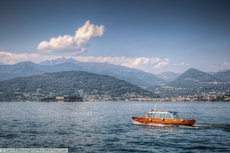 Isola Madre in the distance, Lake Maggiore, Piedmont, Italy