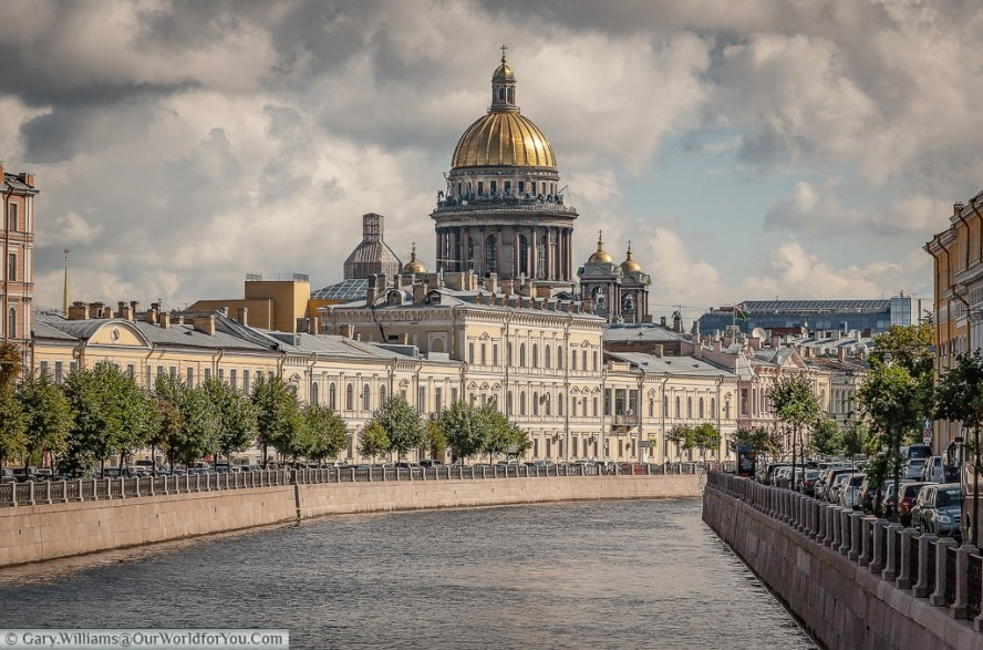 A view of St Isaac's as you look along the Moyka River, St Petersburg, Russia