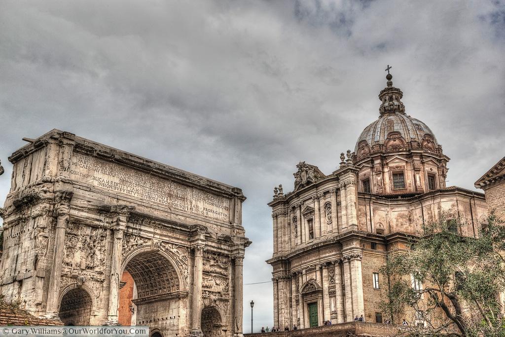Septimius Severus Arch & Chiesa dei Santi Luca e Martina, Rome, Italy