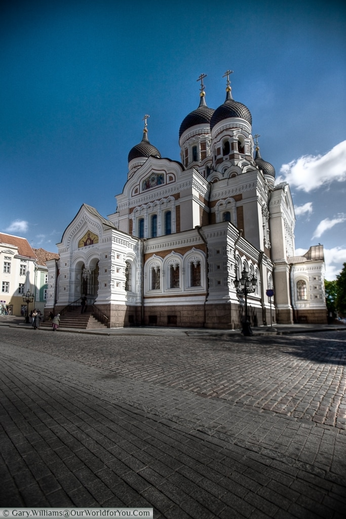 The striking, dominating, view of St. Alexander Nevsky Cathedral in Tallinn