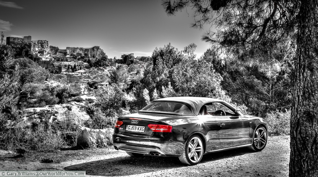 The Audi S5 Convertible just outside Les Baux de Provence, France