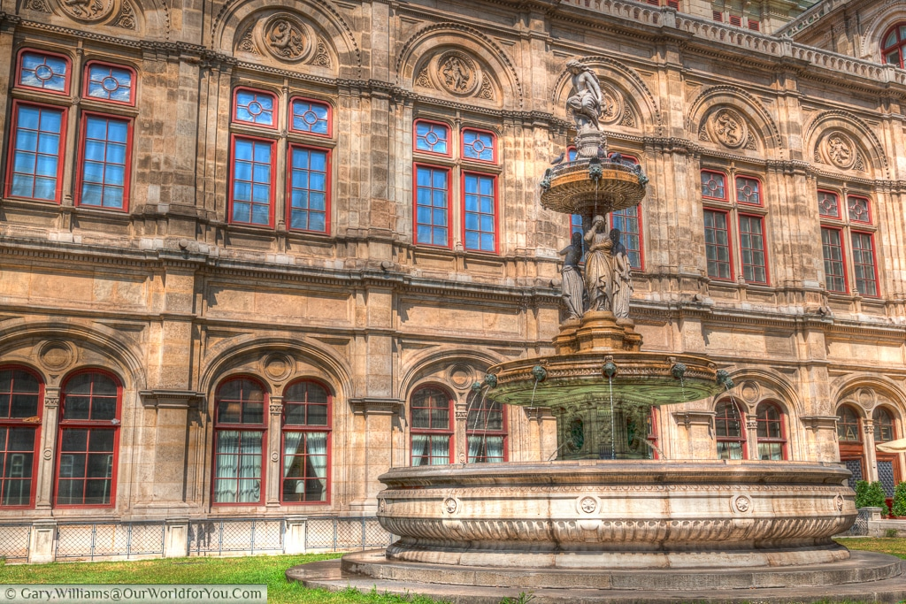 The Lorelei Fountain sits next to the Staatsoper in central Vienna, Austria