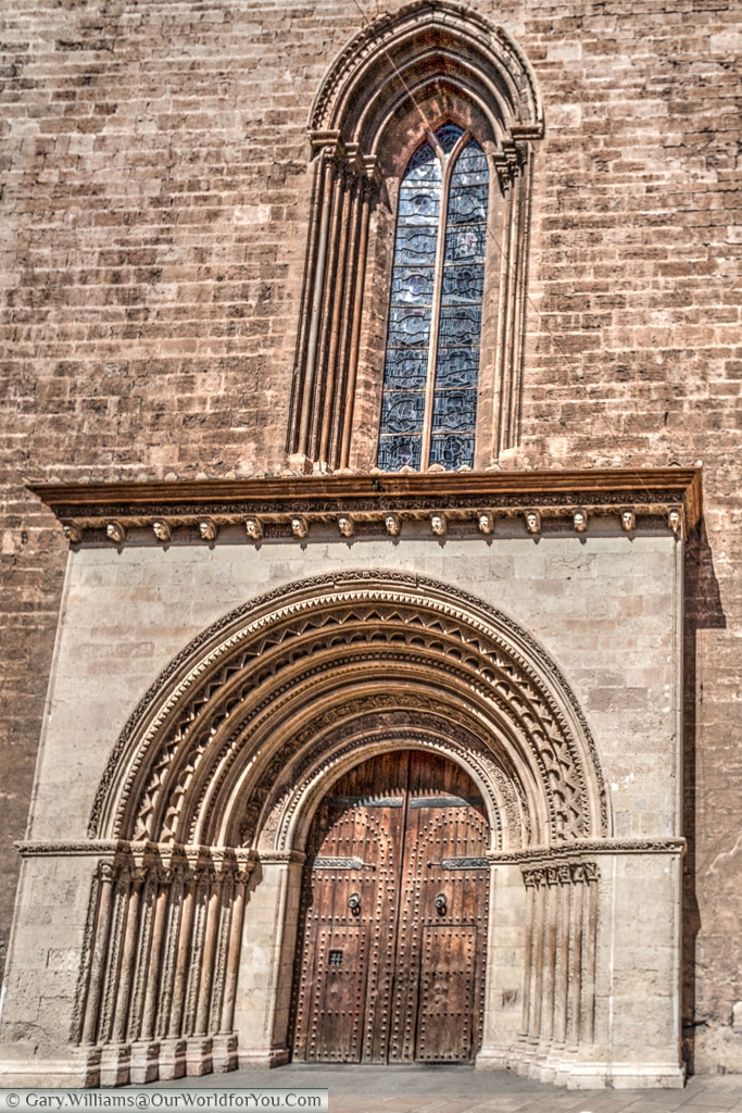 The Romanesque entrance to the Cathedral, Valencia, Spain